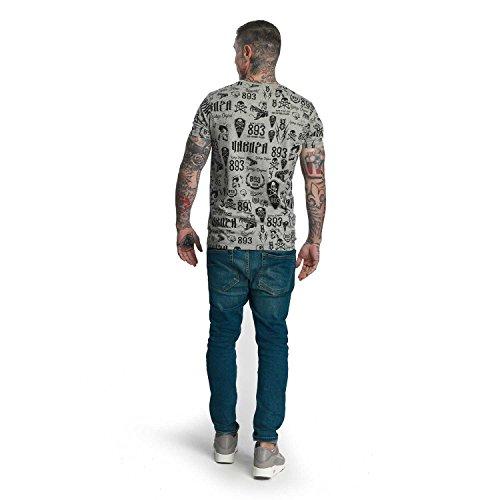 Yakuza Original Herren Allover Label T-Shirt Hellgrau Meliert