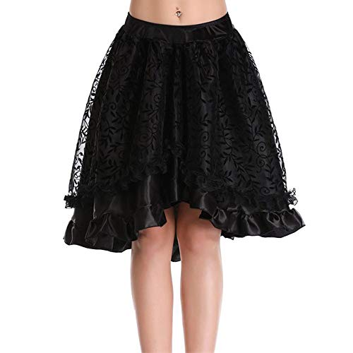 Plus Prinzessin Peach Kostüm - OverDose Damen Frauen Spitze Asymmetrisch High Low Steampunk Rock Gothic Floral Spitze Hohe Taille Gothic Neuheit Korsett High Plus Rock Für Party Club