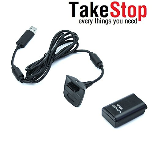takestop® Akku und Ladekabel für Controller Joystick Joypad Xbox 360Schwarz Kit 4800mHA