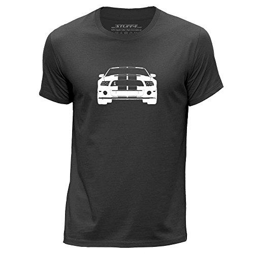 STUFF4 Uomo/Medio (M)/Grigio Scuro/Girocollo T-Shirt/Stampino Auto Arte / Mustang GT500