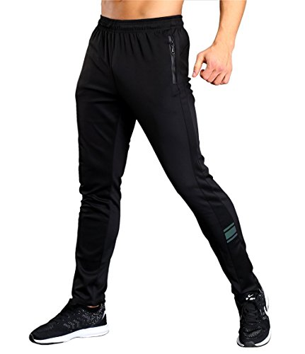 Srizgo Tracksuit Bottoms Black with Zip Pockets New Design Mens Jogging Trousers for Sports and Leisure (Tag XL=UK M)