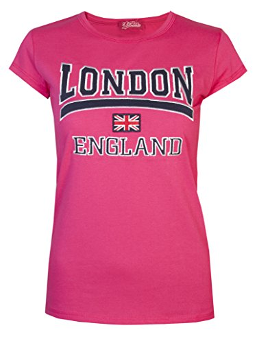 Love Life  Damen T-Shirt, Einfarbig Hot Pink/Navy
