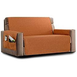 la biancheria di casa Elizabeth Copri Poltrona Divano Antiscivolo (3 posti, Arancio) con 2 Tasche portaoggetti
