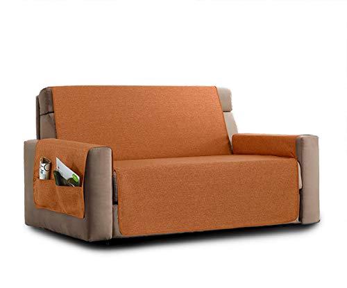 La biancheria di casa elizabeth copri poltrona divano antiscivolo (2 posti, arancio) con 2 tasche portaooggetti