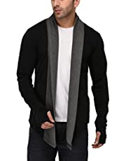 DENIMHOLIC Men's Cotton Thumb-Hole Open Long Full Sleeves Cardigan