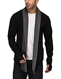 DENIMHOLIC Men's Cotton Thumb-Hole Open Long Full Sleeves Cardigan