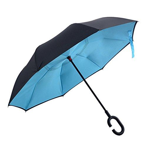 dolirox® Envers coupe-vent parapluie pliant Symétrie inversée Motif double couche et à debout à l'intérieur et à l'extérieur Protection Pluie Parapluie avec poignée en forme les mains libres, idéal pour voyager utilisation et voiture, bleu/noir