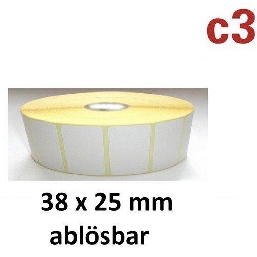 38x25 mm ThermoEtiketten ABLÖSBAR Rolle mit 2.580 Etiketten Zebra ,Citizen,Intermec, TEC -