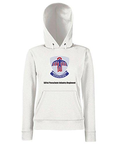 T-Shirtshock - Sweats a capuche Femme TM0361 501st Parachute Infantry Regiment usa Blanc