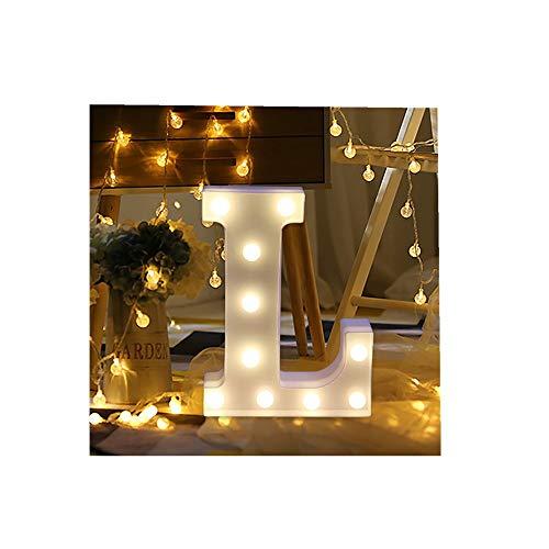 ODJOY-FAN 26 Englisch Brief Licht LED Letter Light Alphabet LED Beleuchtung Licht Oben Weiß Kunststoff Briefe Stehen Hängend A-M Wohnaccessoires Lichter Zubehör (L,1 PC)