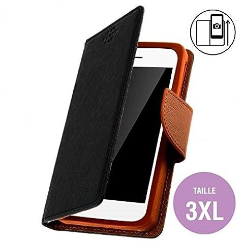 Housse Portefeuille Folio Noir Marron pour Nokia Lumia 1320