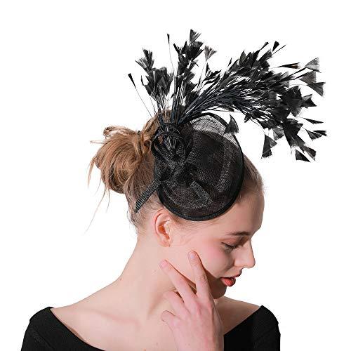 Damen stirnbänder Womens Stirnband Schleier Blume Haarspange Cocktail Tea Party Headwear Braut elegante Haarspange bereit für Frauen Elegantes Bekleidungszubehör ( Color : Black , Size : Free size ) - Womens Kirche Anzüge
