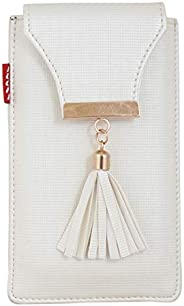 Tickles Fancy Mobile Pouch with Sari Waist Clip for Women Girls (White) (Suitable for Mobile Sizes 5.5 Inches
