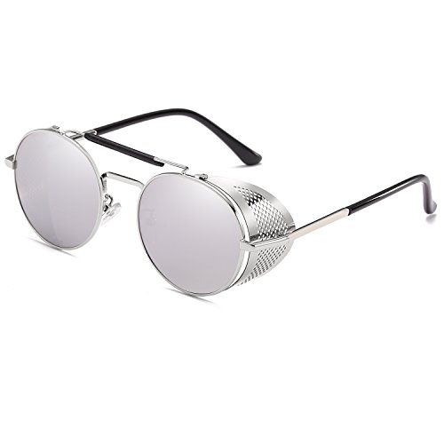 Retro Steam Punk Sunglasses Round Designer Metal Shields Sunglasses Men Women UV400 Gafas De Sol