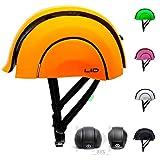 L.I.D Plico Pieghevole Riciclato Urbano Casco da Bici con USB Ricaricabile Posteriore a Clip Luce, Unisex, 3E-HEA4-2ZW6, Orange, Size 55-58 cm