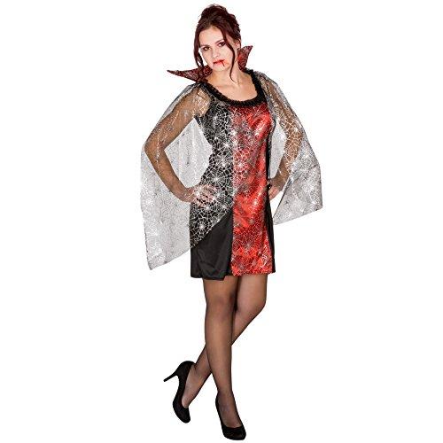 TecTake dressforfun Sexy Vampirkleid mit Stehkragen Spinnennetz Gothic Damen Halloween Karneval Fasching Kostüm (XL | Nr. 300077)