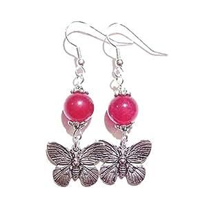 Boucles d'oreilles Semi-précieux en Jade Rouge Avec Papillions