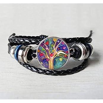Lebensbaum Leder-Armband Glascabochon schwarz verstellbar 3-reihig handmade geflochten Baum des Lebens Schmuckphantasien…