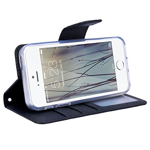 GrandEver iPhone SE 5S 5 Hülle Gute Qualität Lederhülle Schutzhülle mit Kartenfach Ledertasche Retro Tasche Scratch PU Leder Ledercase Schale Umschlag Stil Wallet Case Flip Cover mit Transparent Weich Schwarz