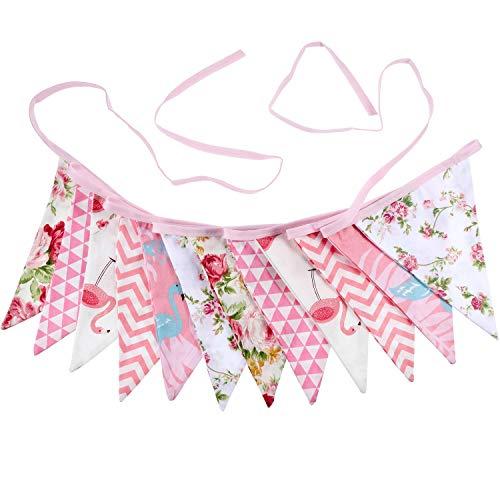 LuLyLu Flamingo Blumen Sommer Stoff Ammer Hawaii Doppelt Größe Vintage Schicke Banner Garland 11,5 Fuß 12 Fahnen für Tee Party Hochzeit Geburtstag Baby Dusche (Stil 2) by