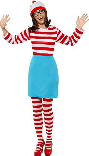 Smiffys, Damen Wo ist Wenda-Kostüm, Oberteil, Rock, Brille, Leggings und Mütze, Größe: XS, 39504 (Wheres Wally Kostüm Kostüm)