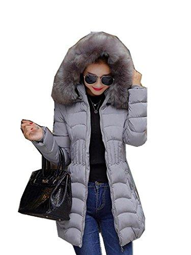 Jacke Mantel Parka Damen Strickjacke Wintermantel Kapuzenjacke Herbst Warmeparka Outwear Jacken Kurzmantel Oberbekleidung LMMVP (L, Grau)