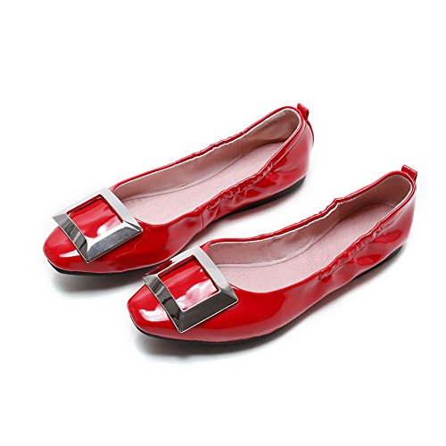 AgooLar Damen Eingelegt Lackleder Ohne Absatz Ziehen Auf Quadratisch Zehe Flache Schuhe Rot