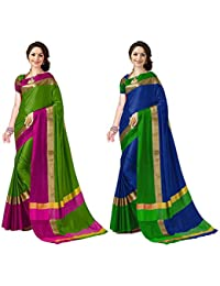 Art Decor Sarees Cotton Saree with Blouse Piece (Pack of 2)