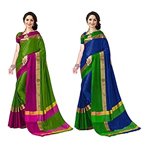 Art Decor Women's Cotton Silk Saree with Blouse Piece – Pack of 2