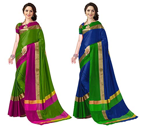ANNI DESIGNER Women's Sarees Cotton Saree with Blouse Piece (Pack of 2) (Ashi Combos_Green & Sony Blue_Free Size)