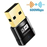 iAmotus USB WiFi Adaptateur AC600 Mbps Mini Double Bande Wireless 5GHz 433Mbps/2.4GHz 150Mbps Sans fil Dongles 802.11ac Nano Wlan Stick Portatif Compatible avec PC Windows XP/Vista/7/8/10 Linux Mac OS