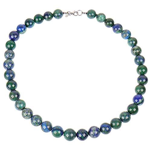 PowerBead - Collar para Mujer con Piedras Preciosas (Plata de Ley 925, malaquita azurita Azul y Verde, Piedra curativa de 45 cm)