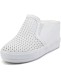 Easemax Damen Süß Gaze Mesh Hohle Spitze Plateau Loafers Sneakers Rosa 38 EU 0kCqM