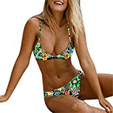 Luckycat Conjunto de Bikini para Mujer, Parte de Arriba Bikini Push Up Básico Tanga Bikini Playa de Hojas de Impresión Mujer, 2 PCS Traje de Baño 2018 Verano Sexy