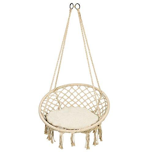 Cocoarm Hängesessel mit Weiß runde Sitzkissen, Belastbarkeit max. 135 kg, Beige Hängestuhl für Indoor Outdoor, Twist Seil und Quaste hängesitz zu Balkon Terrasse Haus Garten (Hängesessel)