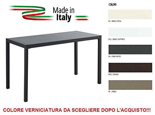 ALTIGASI Table pour extérieur QUATRIS 120 x 70 cm en Fer zingué et Verni à poussières – Couleur au Choix à Indiquer après l'achat – Ne arruginisce – Produit fabriqué en Italie