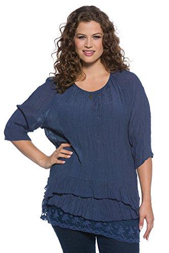 Ulla Popken Femme Grandes tailles Blouse 697753 bleu profond