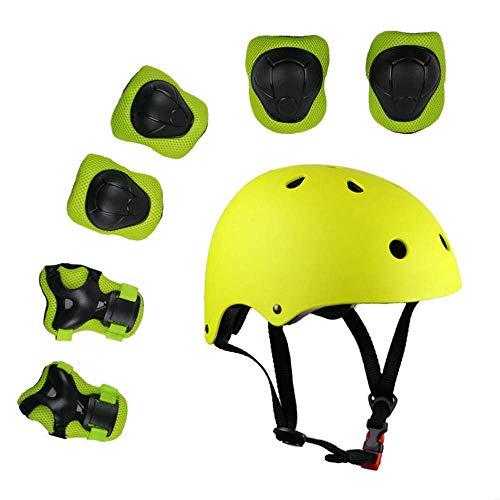 Lucky-M Kinder 7 Stücke Outdoor Sports Schutzausrüstung Set Jungen Mädchen Fahrradhelm Sicherheit Pads Set [Knie Ellbogenschützer und Handgelenkschutz] für Roller Scooter Skateboard Fahrrad (Gelb)