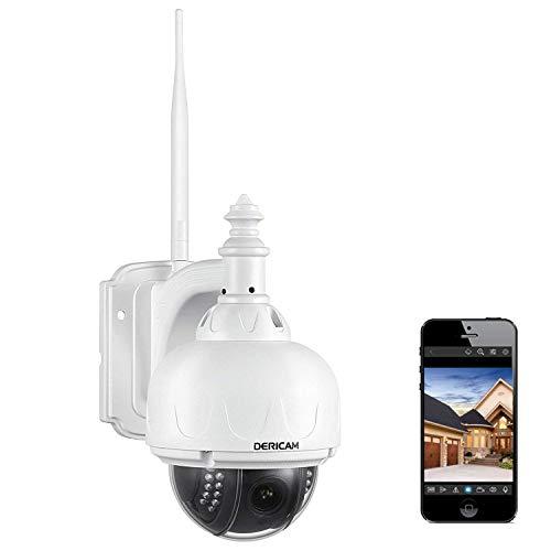 Dericam WLAN IP Kamera, Überwachungskamera Außenbereich, PTZ Kamera, 4-Fach optischer Zoom, Autofokus, mit 32GB Speicherkarte (vorinstalliert), S1-32G, Farbe weiß (Wireless Ip-kamera Außerhalb)