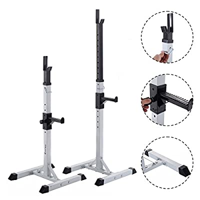 Costway 2PC Adjustable Barbell Rack Stand Gym Heavy Duty Squat Free Weight Bench White from Costway
