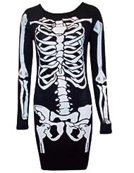 Generic - Costume de Déguisement Femme Robe Moulante Motif Squelette - Neuf