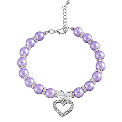 HOUSWEETY Lovely Pet Dog Cat Piggy Pearls Necklace Collar Crystal Heart Charm Pendant Jewellery New