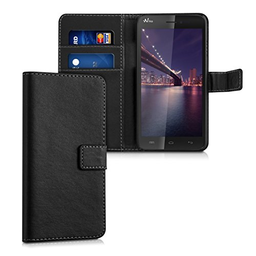 kwmobile Custodia portafoglio per Wiko Lenny - Cover a libro in simil pelle Flip Case con porta carte funzione appoggio nero .nero