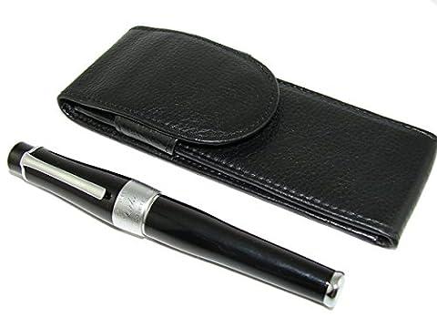 lanxivi Duc 2009Charlie Chaplin Stylo plume Noir laqué de lourds Stylo en cuir Étui à stylo - Casi Fountain Pen