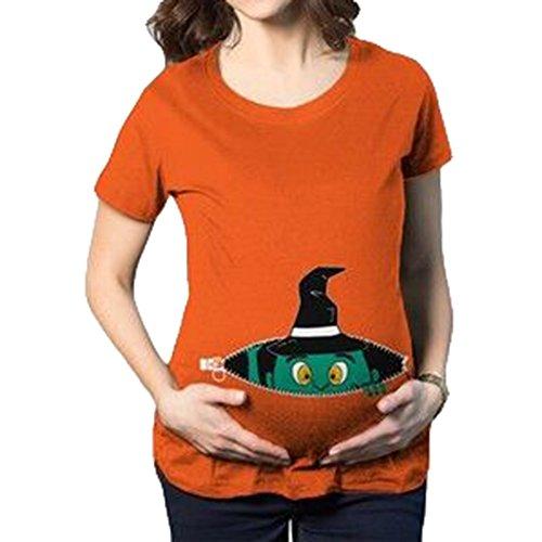 KSchwangere Maternity Umstandsshirt Kurzarm Umstandsmoden T-Shirt mit Witzige Druck Orange/L (Halloween Für Schwangere Damen)