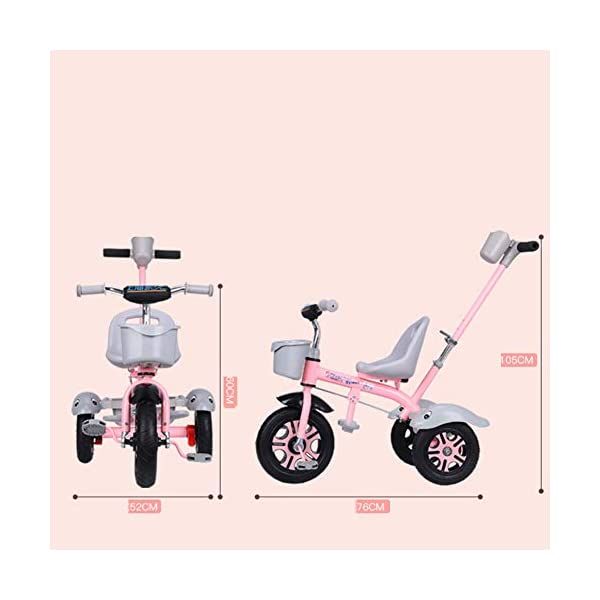 GSDZSY - Kids Tricycle Trike 2 In1, With Removable Adjustable Push Handle Bar,EVA Soft Wheel,Seat Can Be Adjusted, Folding Footrest, 2-6 Years,D GSDZSY  6