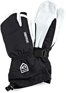 Hestra Gants d'armée en cuir Heli Ski Gants 3 doigts Noir 12 L,-XXX (Noir/blanc
