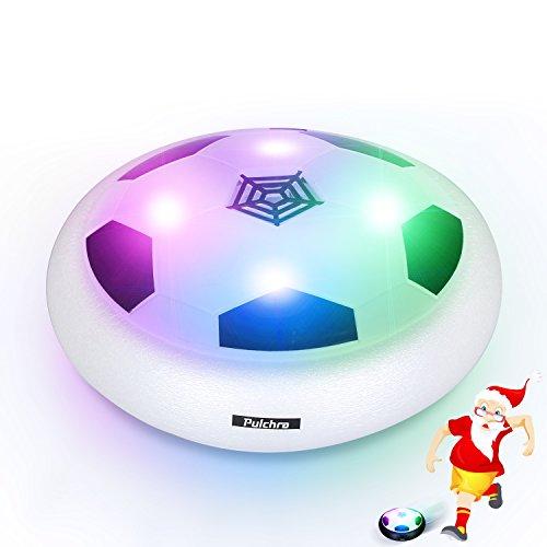Pulchra Air Fußball (LED Lichter & Schaum Stoßstangen eingebaut) Elektronische Power Hover Ball Fußball Disc für Kinder Sport Spielzeug Geschenke Indoor & Outdoor Training Spiel Ball (Weiß, Durchmesser: 18cm)
