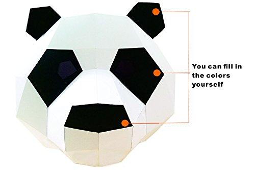 Creative handgefertigt Papier sterben Helm, Maske, DIY Material, Masquerade Ball, Damen und Herren General Süße weiße Panda, Foto, Leistung Requisiten, Halloween Kostüme, Urlaub Party Requisiten, Farbe Papier & # xff08; Panda (X-Large)