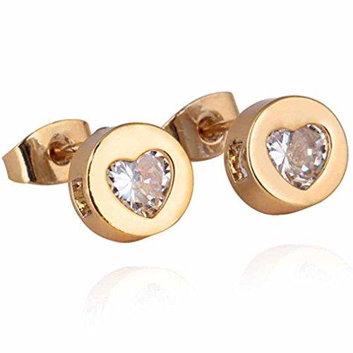 Yazilind elegante 14K Gold Filled embutido cúbico del diseño del corazón de los pendientes del perno prisionero del Circonita para Pequeñas Idea regalo de las